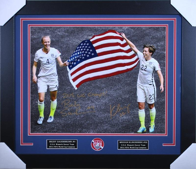 Meghan Klingenberg and Becky Sauerbrunn Signed Holding the Flag Custom 16x20 - Professionally Framed