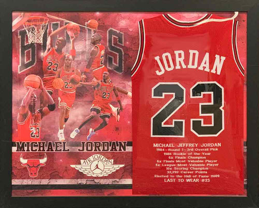 Michael Jordan Unsigned Chicago Red Stat Custom Basketball Jersey - Professionally Framed