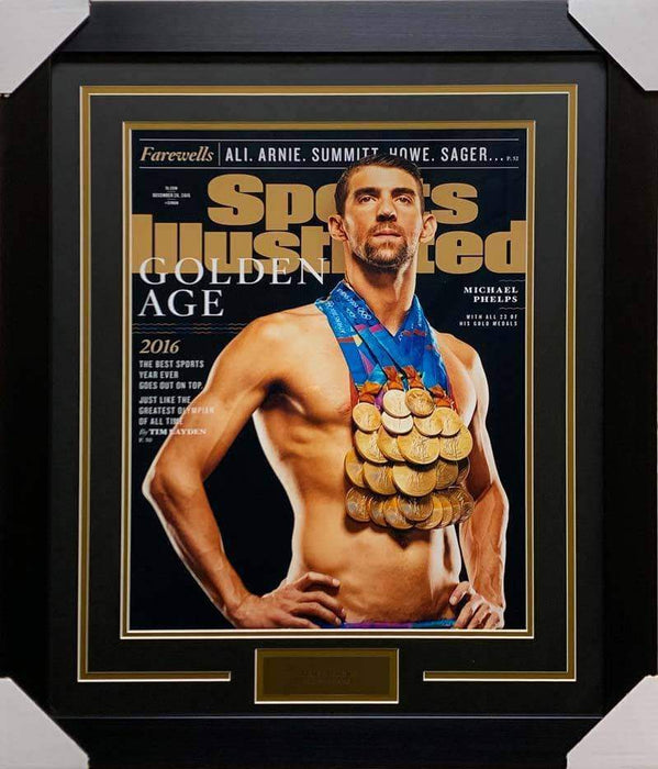 Michael Phelps Gold Medals 16x20 Photo - Professionally Framed