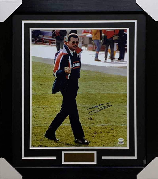 Mike Ditka Signed Middle Finger 16x20 Photo - Professionally Framed