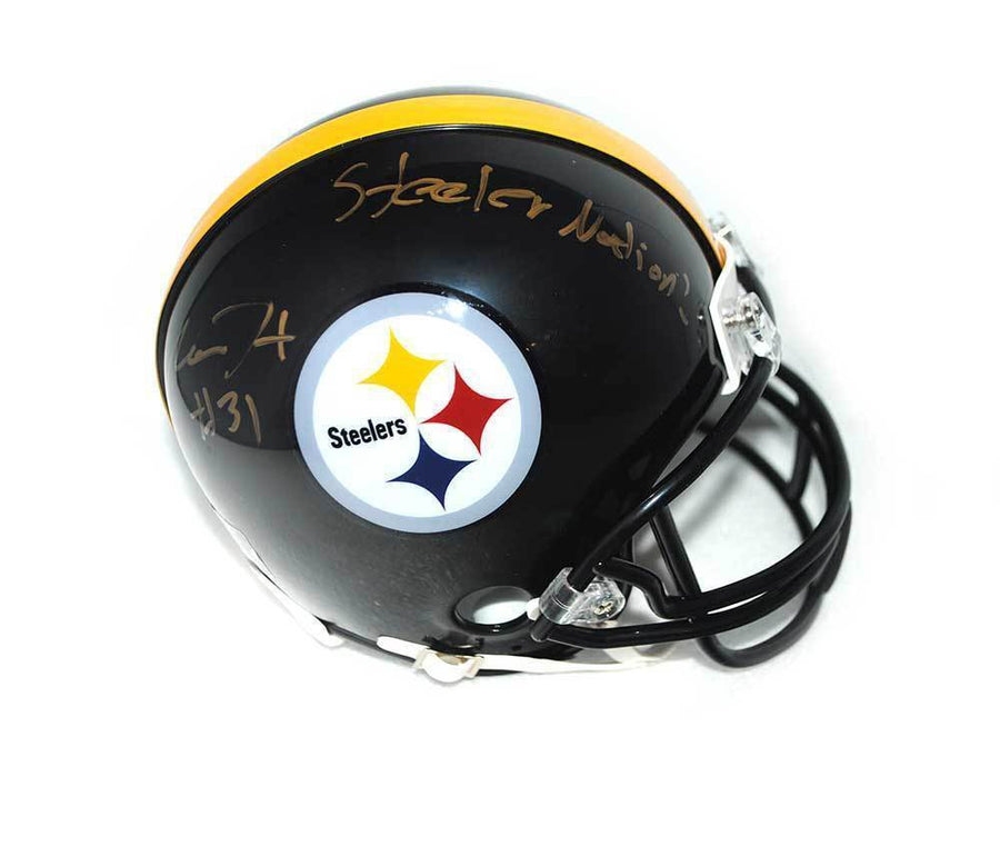 Mike Hilton Signed Pittsburgh Steelers Logo Mini Helmet with Steeler Nation