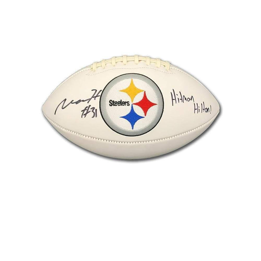 "Mike Hilton Signed Pittsburgh Steelers White Logo Football with ""Hitman Hilton"""