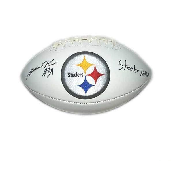 Mike Hilton Signed Pittsburgh Steelers White Logo Football with Steeler Nation