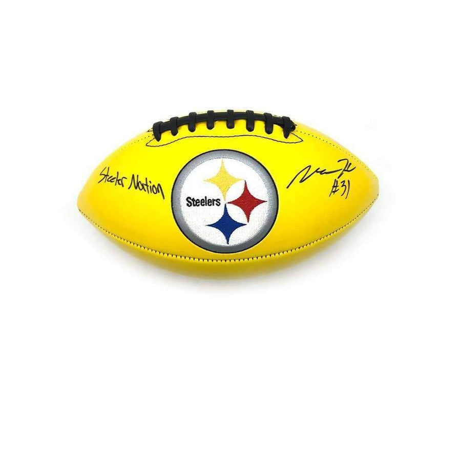 "Mike Hilton Signed Pittsburgh Steelers Yellow Logo Football with ""Steeler Nation"""