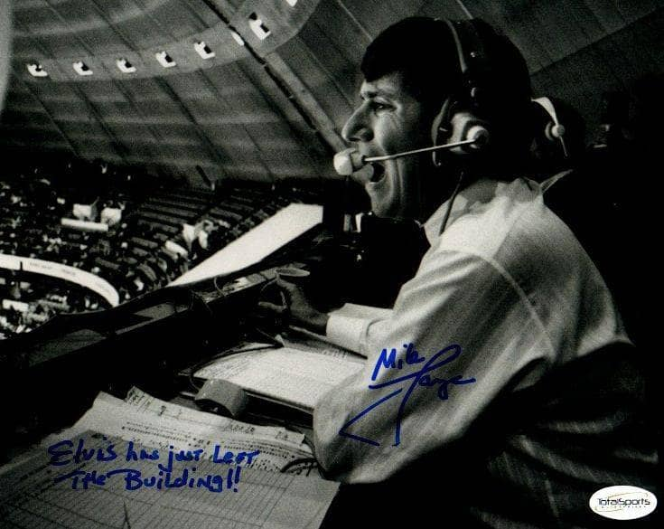 "Mike Lange Autographed B&W in Booth 8x10 Photo with ""Elvis has just left the building"""