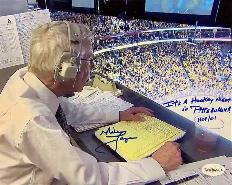 "Mike Lange Autographed Color in Booth 8x10 Photo with ""It's a Hockey Night in Pittsburgh"""
