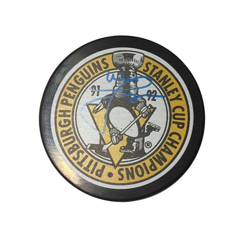 Mike Lange Autographed Pittsburgh Penguins 91-92 Stanley Cup Champions Puck