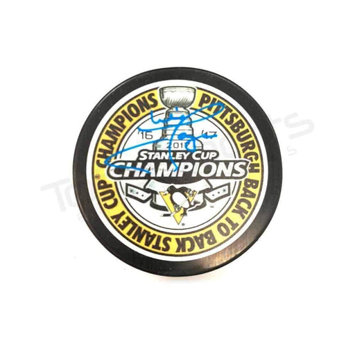 Mike Lange Autographed Pittsburgh Penguins Back-to-Back 16-17 Champions Puck