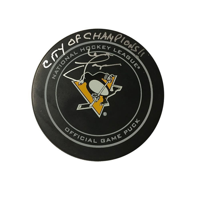 Mike Lange Autographed Pittsburgh Penguins Game Model Puck with City of Champions