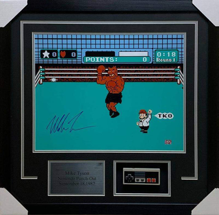 Mike Tyson Punch Out with Controller Signed 16x20 - Professionally Framed