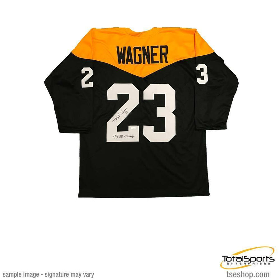 Mike Wagner Autographed Custom 1967 Throwback Football Jersey with 4X SB Champs