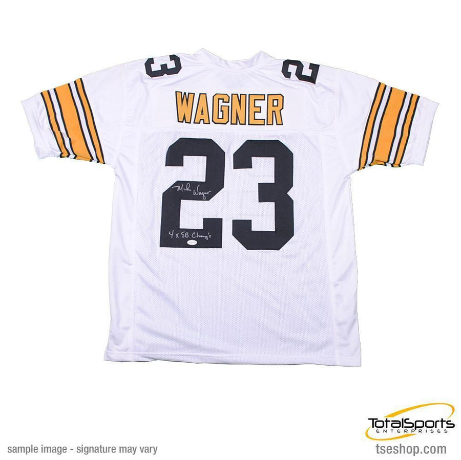 5744289c7 Mike Wagner Autographed Custom White Football Jersey with 4X SB Champs
