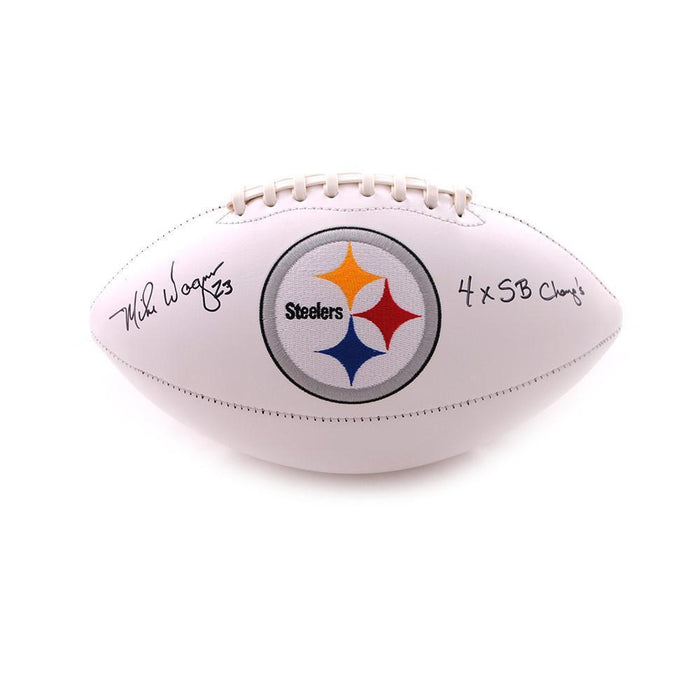 Mike Wagner Autographed Pittsburgh Steelers White Logo Football with 4X SB Champs