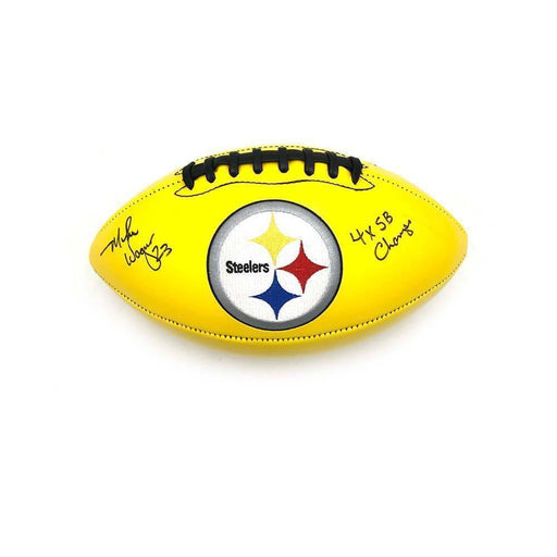 Mike Wagner Autographed Pittsburgh Steelers Yellow Logo Football with 4X SB Champs