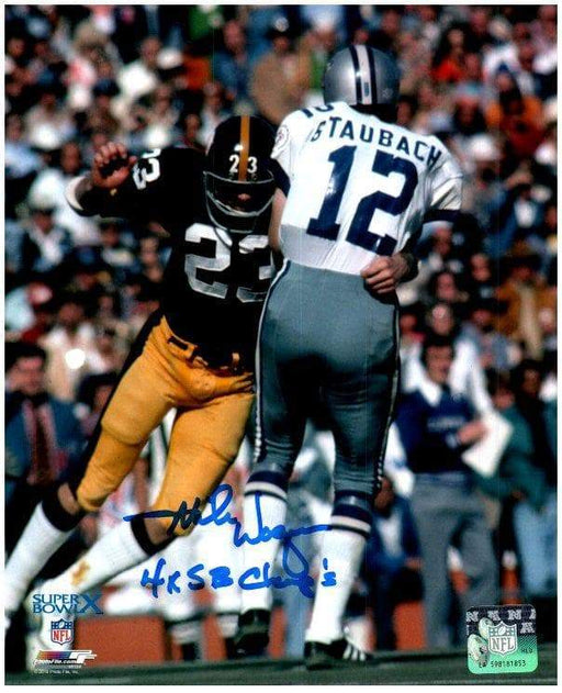 Mike Wagner Autographed Tackling Roger Staubach 8x10 Photo with 4X SB Champs