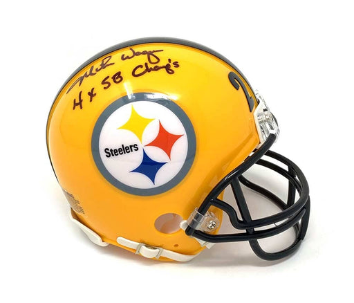 Mike Wagner Signed Pittsburgh Steelers 75th Anniv. Mini Helmet with 4X SB Champ