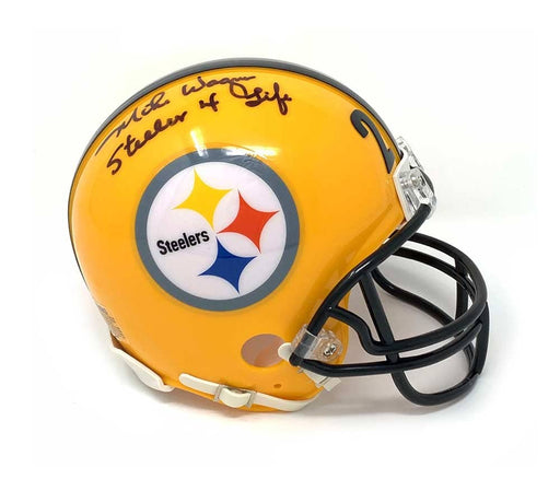 Mike Wagner Signed Pittsburgh Steelers 75th Anniv. Mini Helmet with Steeler 4 Life