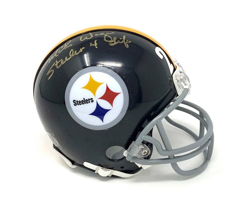 Mike Wagner Signed Pittsburgh Steelers Throwback Black Mini Helmet with Steeler for Life Inscription