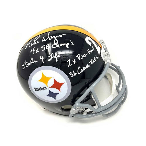 Mike Wagner Signed Steelers TB Full Size Helmet with STATS