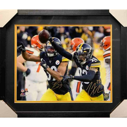 Minkah Fitzpatrick And Joe Haden Dual Signed Arm Up Celebration 16X20 Photo - Professionally Framed