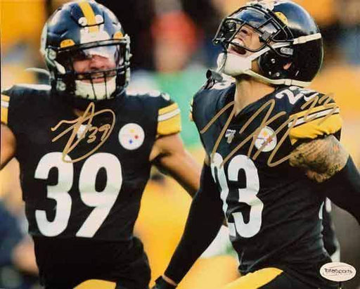 Minkah Fitzpatrick and Joe Haden Dual Signed Close-up Celebration 16x20 Photo