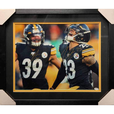 Minkah Fitzpatrick and Joe Haden Dual Signed Close-up Celebration 16x20 Photo - Professionally Framed