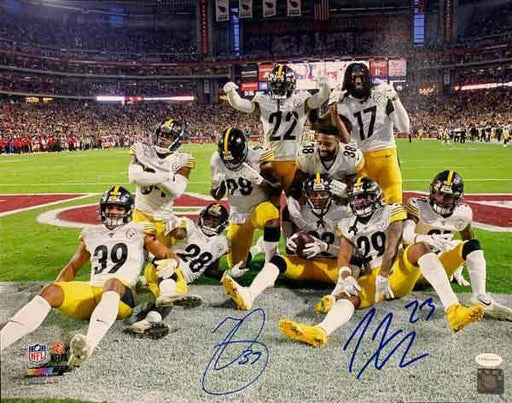Minkah Fitzpatrick and Joe Haden Dual Signed Endzone Celebration 16x20 Photo