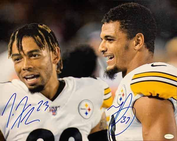 Minkah Fitzpatrick and Joe Haden Dual Signed Helmet Off Celebration 16x20 Photo