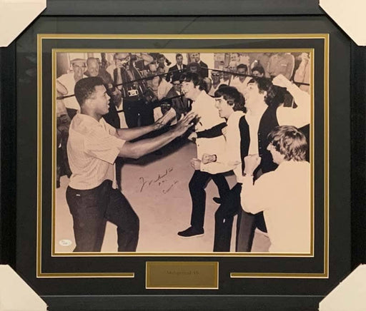 Muhammad Ali Autographed with The Beatles 16x20 Photo - Professionally Framed