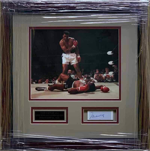 Muhammad Ali Cut Autograph with 8x10 Over Liston - Professionally Framed with Cherry Mold