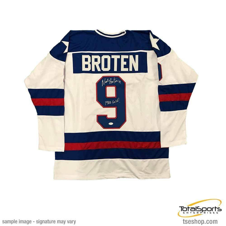 Neal Broten Signed Custom 1980 USA Hockey Jersey with 1980 Gold