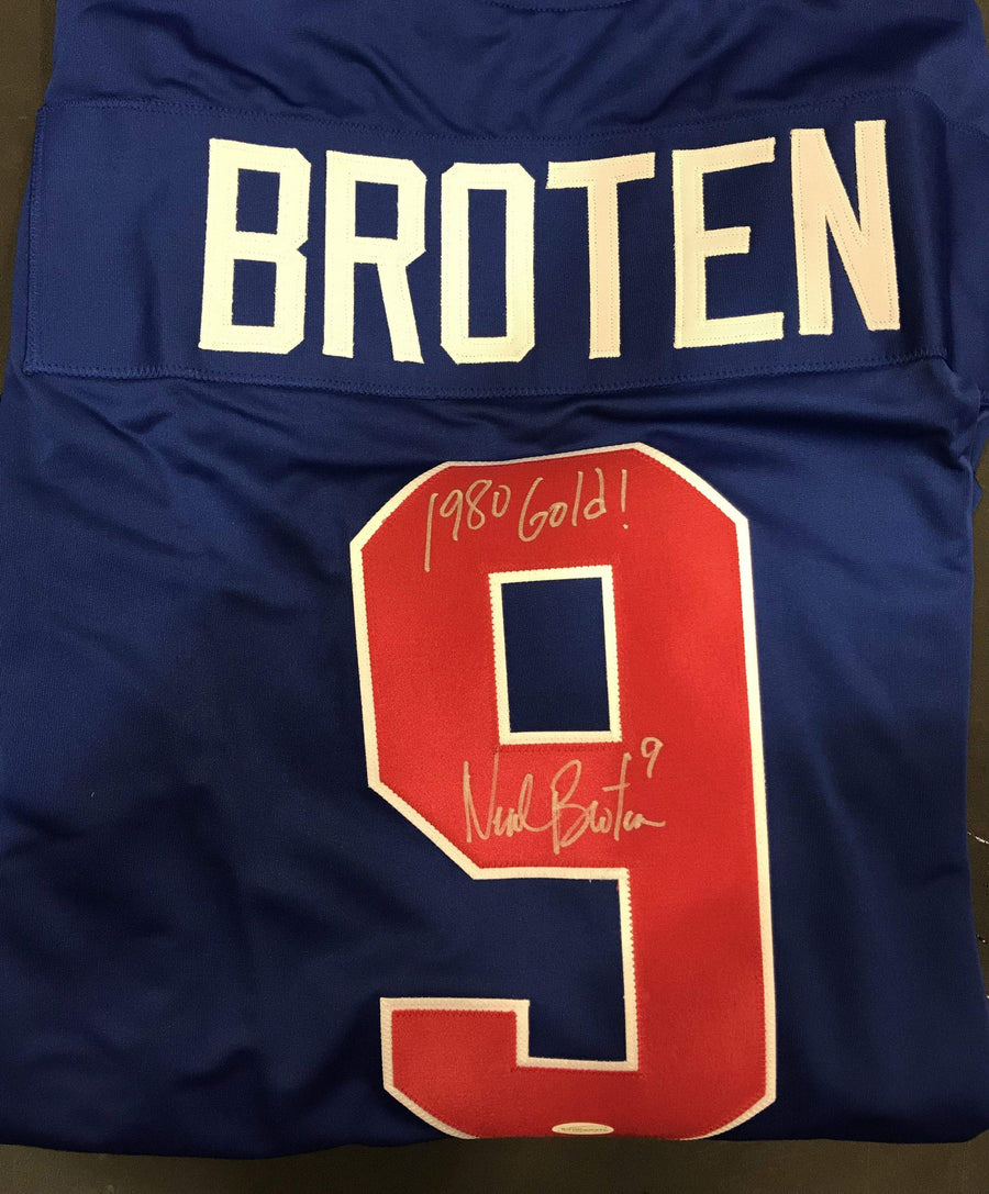 Neal Broten Signed Custom Blue 1980 USA Hockey Jersey with 1980 Gold