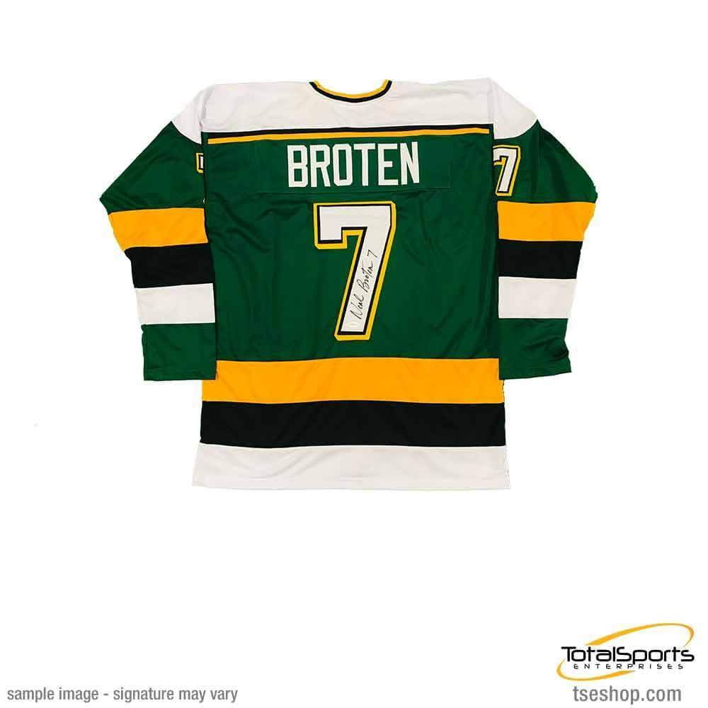 promo code a3aff caad7 Neal Broten Signed Custom Green Hockey Jersey