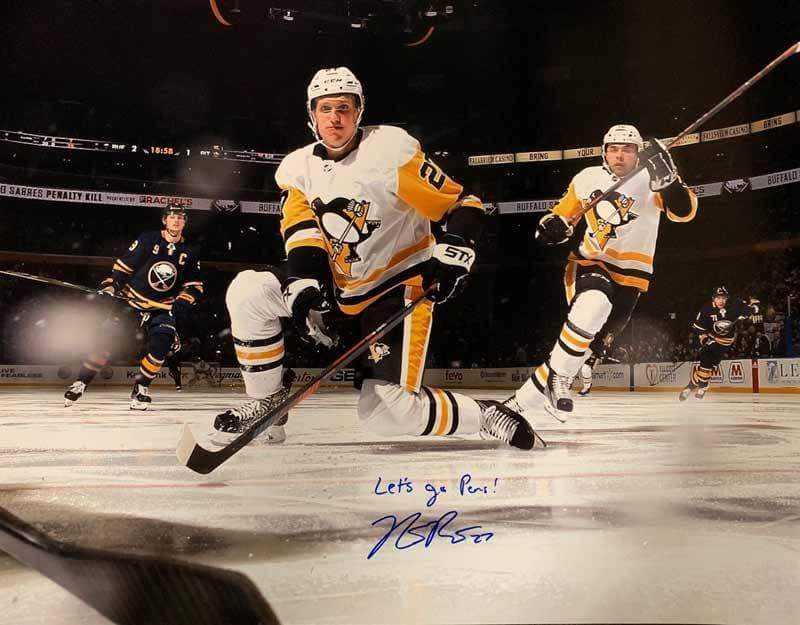"Nick Bjugstad Signed Kneeling 16x20 Photo with ""Let's Go Pens"""