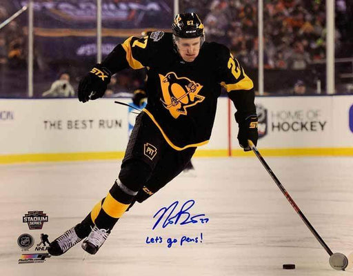 "Nick Bjugstad Signed Skating in Alternate Uniform 16x20 Photo with ""Let's Go Pens"""