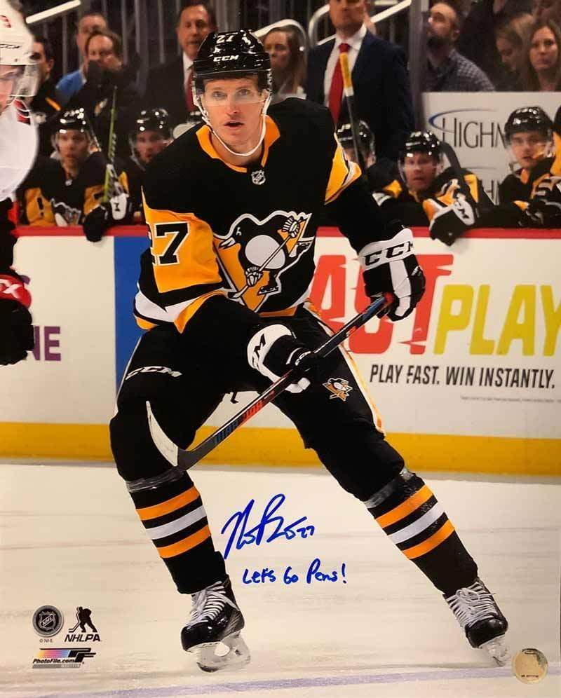 "Nick Bjugstad Signed Stick Up 16x20 Photo with ""Let's Go Pens"""