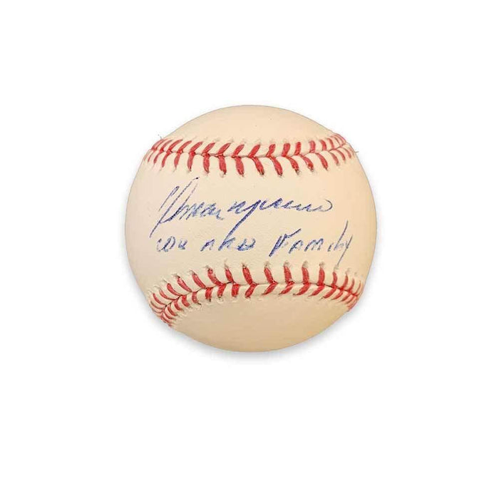 "Omar Moreno Autographed Official Major League Baseball with ""We Are Family"""