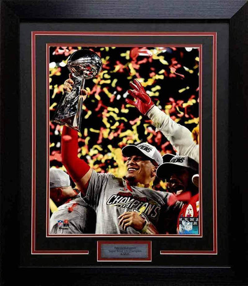 Patrick Mahomes Holding SB LIV Trophy Unsigned  16x20 Photo - Professionally Framed