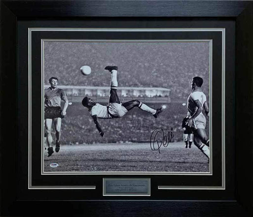 Pele Signed Bicycle Kick Black and White-16x20 Photo- Professionally Framed