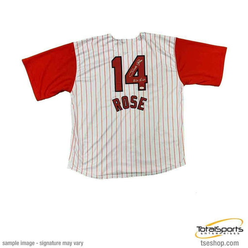 Pete Rose Signed Red Pinstripe Custom Jersey with Hit King
