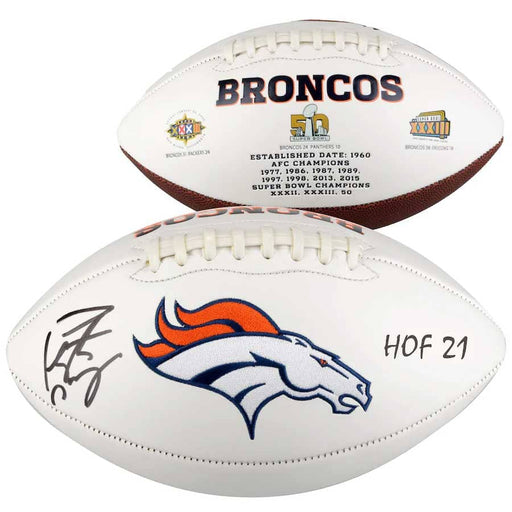 "Peyton Manning Denver Broncos Autographed White Panel Football with ""HOF 21"" Inscription"