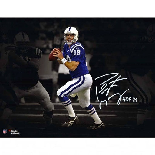"Peyton Manning Indianapolis Colts Autographed 11"" x 14"" Action Photograph with ""HOF 21"" Inscription"