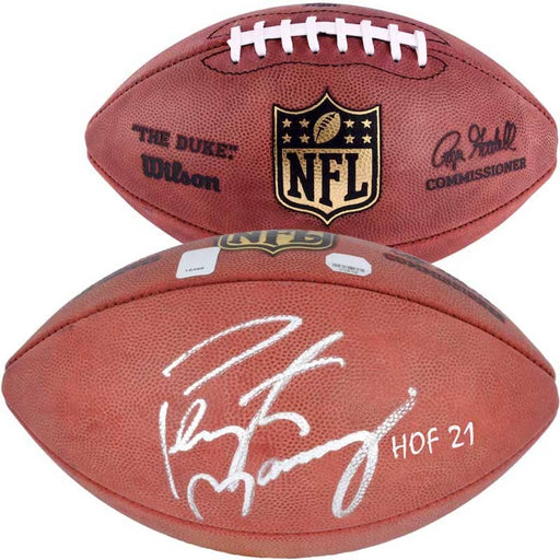 "Peyton Manning Indianapolis Colts Autographed Duke Pro Football with ""HOF 21"" Inscription"