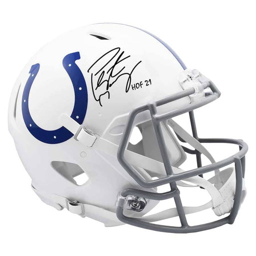 "Peyton Manning Indianapolis Colts Autographed Riddell Speed Authentic Helmet with ""HOF 21"" Inscription"