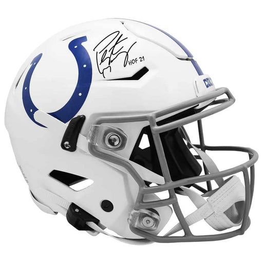 "Peyton Manning Indianapolis Colts Autographed Riddell Speed Flex Authentic Helmet with ""HOF 21"" Inscription"