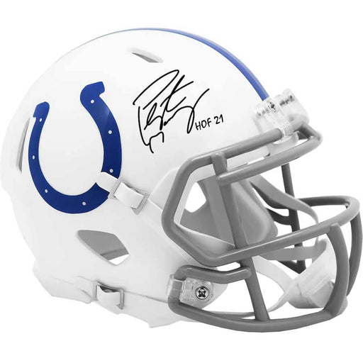 "Peyton Manning Indianapolis Colts Autographed Riddell Speed Mini Helmet with ""HOF 21"" Inscription"