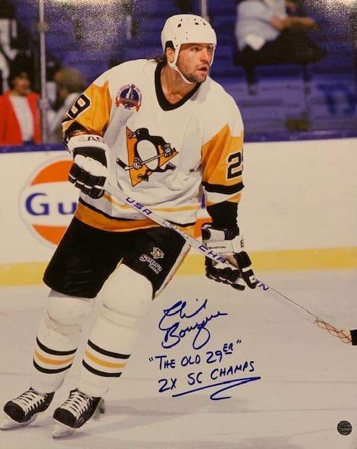 "Phil Bourque Signed on Ice in White 16x20 Photo with ""The Old 29er"" and ""2X SC Champs"""