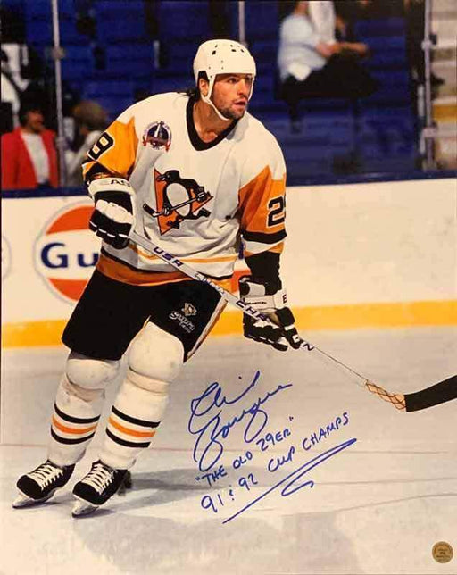 "Phil Bourque Signed Skating in White 16x20 Photo with ""The Old 29er"" and ""91 & 92 Cup Champs"""