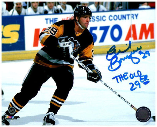 "Phil Bourque Signed Stick on Ice in Home Jers. 8x10 Photo with ""The Old 29er"""