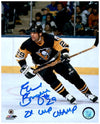"Phil Bourque Signed Stick Up in Home Jers. 8x10 Photo with ""2X Cup Champ"""